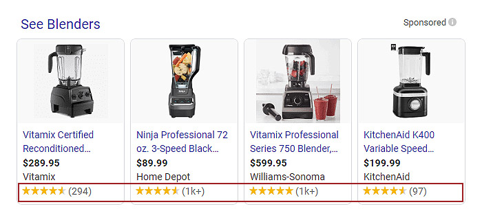 Rating extension in blenders ads