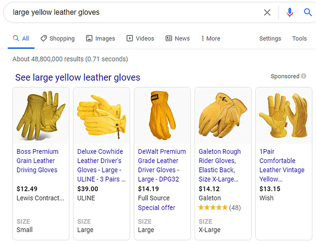 shopping ads of yellow leathered gloves