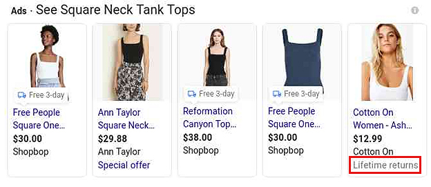 Return Policy - Google Shopping Ad Extensions