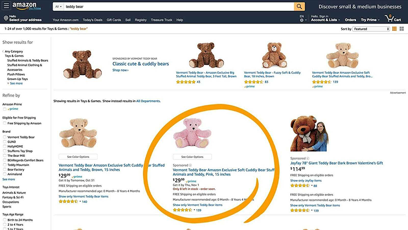 teddy bear example sponsored products ads