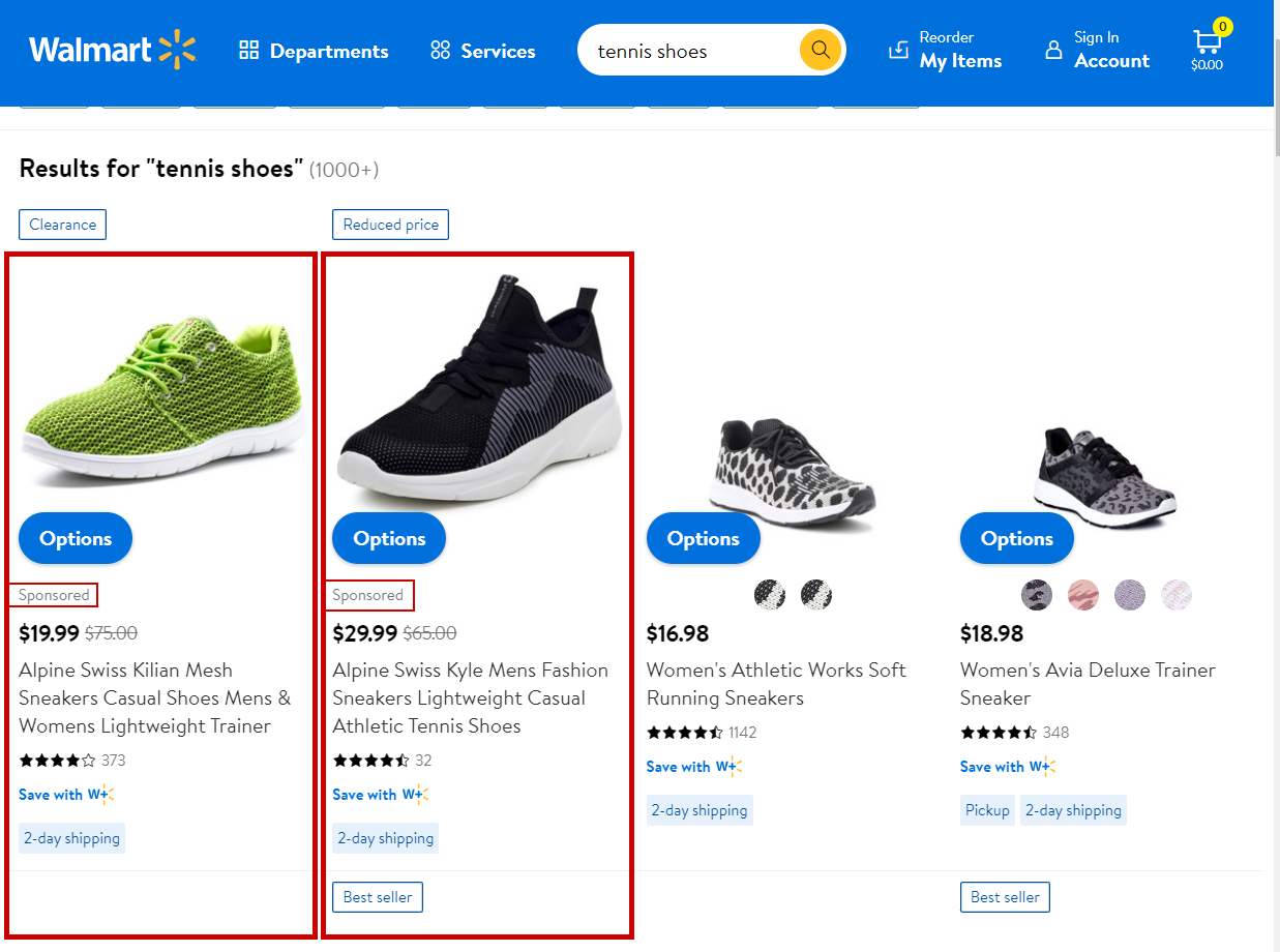 Search In-Grid Placement - Walmart Sponsored Product Ads